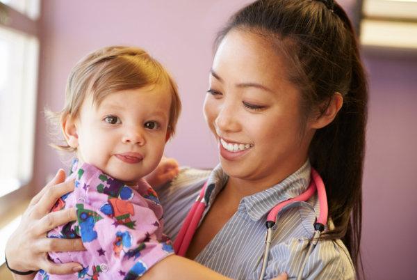 nurse and baby girl